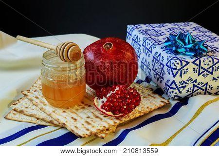 Honey Pomegranate For Traditional Holiday Symbols Rosh Hashanah Jewesh Holiday