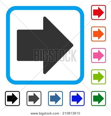 Arrow Right icon. Flat gray iconic symbol inside a light blue rounded square. Black, gray, green, blue, red, orange color additional versions of Arrow Right vector.