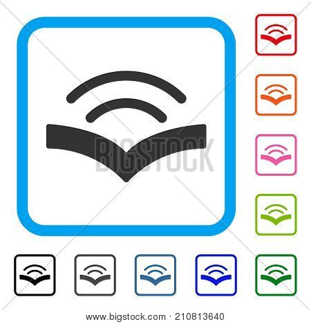 Audiobook icon. Flat gray pictogram symbol in a light blue rounded rectangular frame. Black, gray, green, blue, red, orange color variants of Audiobook vector.