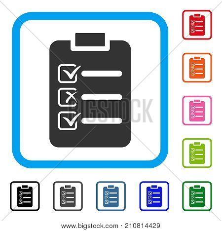 Check List icon. Flat grey iconic symbol in a light blue rounded rectangular frame. Black, gray, green, blue, red, orange color additional versions of Check List vector.