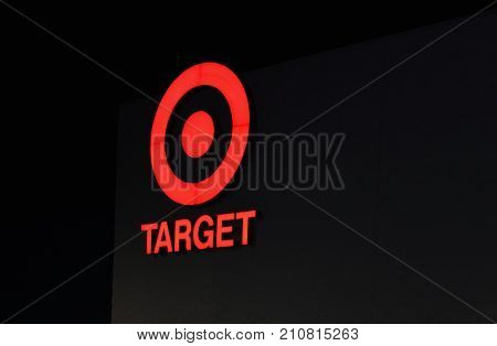Detroit MI USA - 1 October 2016: Close up image at night of the iconic Target Discount Store Sign. Target is the second-largest discount store retailer in the United States behind Walmart