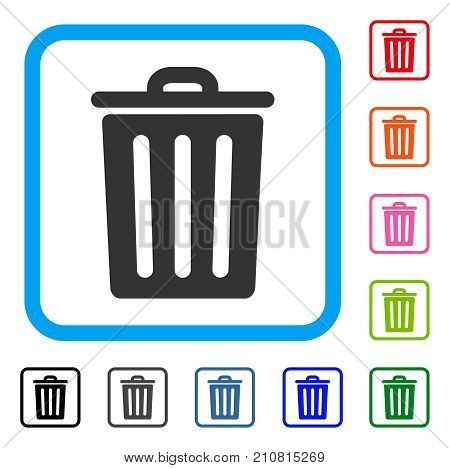 Dustbin icon. Flat gray pictogram symbol in a light blue rounded squared frame. Black, gray, green, blue, red, orange color versions of Dustbin vector. Designed for web and app interfaces.