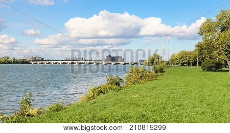 Detroit MI USA - 2 October 2016: MacArthur Bridge viewed from Belle Isle. The MacArthur Bridge spans the Detroit River between Detroit Michigan and Belle Isle.