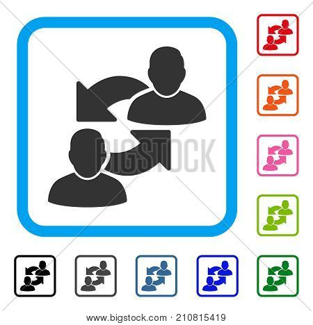 Exchange User icon. Flat grey iconic symbol in a light blue rounded rectangular frame. Black, gray, green, blue, red, orange color versions of Exchange User vector.