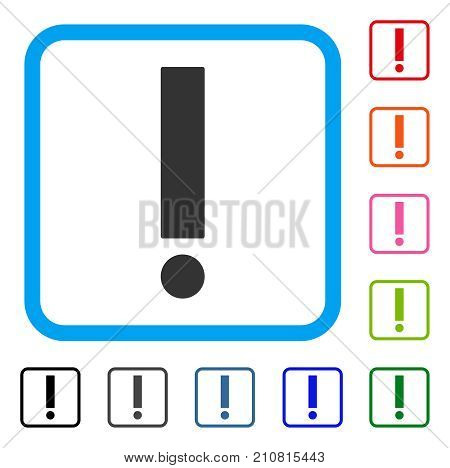 Exclamation Sign icon. Flat gray iconic symbol in a light blue rounded square. Black, gray, green, blue, red, orange color additional versions of Exclamation Sign vector.