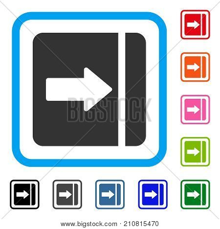 Expand Menu Right icon. Flat grey iconic symbol in a light blue rounded rectangular frame. Black, gray, green, blue, red, orange color additional versions of Expand Menu Right vector.
