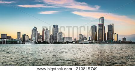 Detroit MI USA - 2nd October 2016: Detroit City Skyline at dusk as viewed from Windsor Ontario Canada.