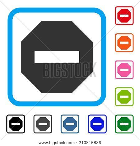 Forbidden Octagon icon. Flat gray pictogram symbol in a light blue rounded rectangle. Black, gray, green, blue, red, orange color additional versions of Forbidden Octagon vector.