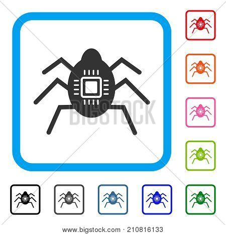 Hardware Bug icon. Flat grey pictogram symbol in a light blue rounded rectangle. Black, gray, green, blue, red, orange color versions of Hardware Bug vector. Designed for web and app UI.