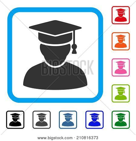 Knowledge Man icon. Flat grey pictogram symbol inside a light blue rounded rectangle. Black, gray, green, blue, red, orange color variants of Knowledge Man vector.