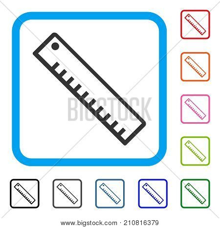 Length Ruler icon. Flat gray iconic symbol inside a light blue rounded squared frame. Black, gray, green, blue, red, orange color versions of Length Ruler vector. Designed for web and application UI.