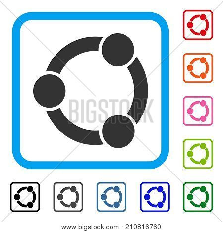 Network Relations icon. Flat grey pictogram symbol inside a light blue rounded frame. Black, gray, green, blue, red, orange color additional versions of Network Relations vector.
