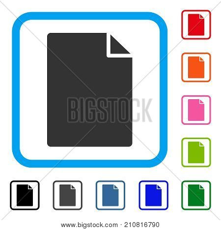 New File icon. Flat grey pictogram symbol in a light blue rounded square. Black, gray, green, blue, red, orange color versions of New File vector. Designed for web and software interfaces.