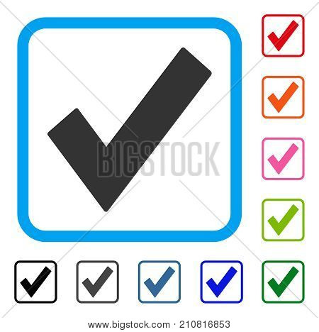 Ok Tick icon. Flat gray pictogram symbol in a light blue rounded squared frame. Black, gray, green, blue, red, orange color versions of Ok Tick vector. Designed for web and application interfaces.