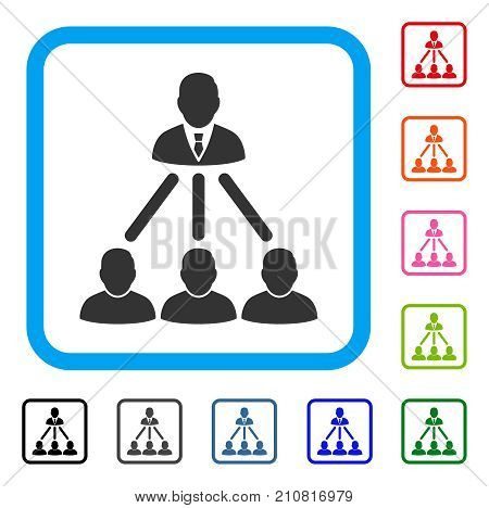 People Organization Structure icon. Flat grey pictogram symbol inside a light blue rounded frame. Black, gray, green, blue, red, orange color versions of People Organization Structure vector.