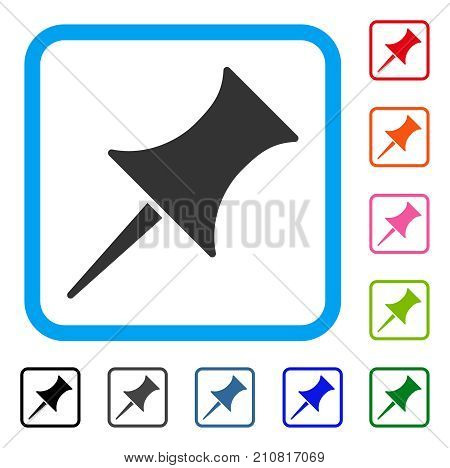 Pin icon. Flat grey iconic symbol inside a light blue rounded rectangular frame. Black, gray, green, blue, red, orange color variants of Pin vector. Designed for web and software interfaces.