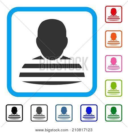 Prisoner icon. Flat gray pictogram symbol in a light blue rounded frame. Black, gray, green, blue, red, orange color additional versions of Prisoner vector. Designed for web and software interfaces.