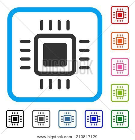 Processor icon. Flat gray iconic symbol inside a light blue rounded rectangular frame. Black, gray, green, blue, red, orange color versions of Processor vector.