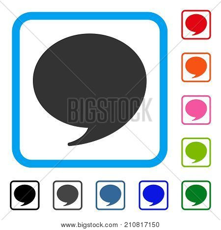 Quote icon. Flat grey iconic symbol inside a light blue rounded rectangular frame. Black, gray, green, blue, red, orange color variants of Quote vector. Designed for web and app interfaces.
