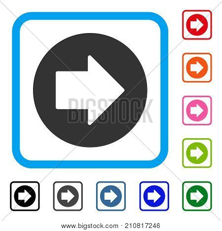 Right Arrow icon. Flat gray iconic symbol in a light blue rounded frame. Black, gray, green, blue, red, orange color variants of Right Arrow vector. Designed for web and app interfaces.