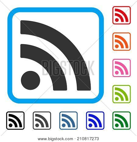 Rss icon. Flat grey iconic symbol inside a light blue rounded rectangular frame. Black, gray, green, blue, red, orange color variants of Rss vector. Designed for web and app UI.