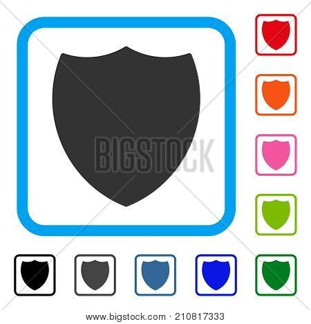 Shield icon. Flat grey iconic symbol in a light blue rounded rectangle. Black, gray, green, blue, red, orange color additional versions of Shield vector. Designed for web and application UI.
