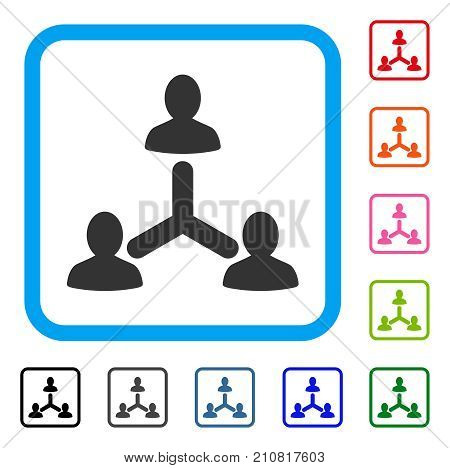 Social Relations icon. Flat grey pictogram symbol in a light blue rounded frame. Black, gray, green, blue, red, orange color additional versions of Social Relations vector.