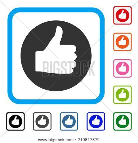 Thumb Up icon. Flat gray iconic symbol inside a light blue rounded rectangular frame. Black, gray, green, blue, red, orange color additional versions of Thumb Up vector.