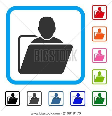User Folder icon. Flat grey iconic symbol inside a light blue rounded rectangle. Black, gray, green, blue, red, orange color variants of User Folder vector. Designed for web and app interfaces.