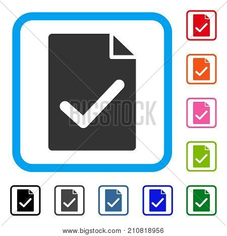 Valid Agreement Page icon. Flat gray pictogram symbol inside a light blue rounded rectangular frame. Black, gray, green, blue, red, orange color versions of Valid Agreement Page vector.