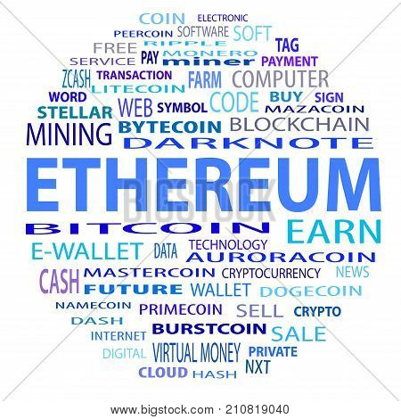 Word cloud related to bitcoin cryptocurrency virtual money and transactions; word