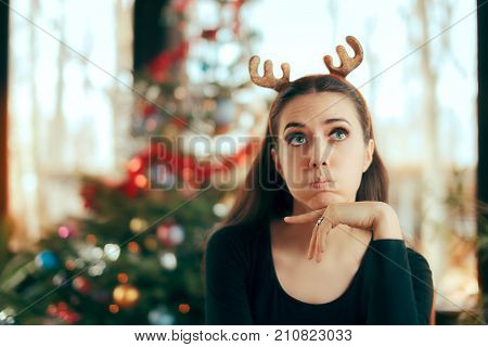 Sad Bored Woman Having No Fun At Christmas Dinner Party