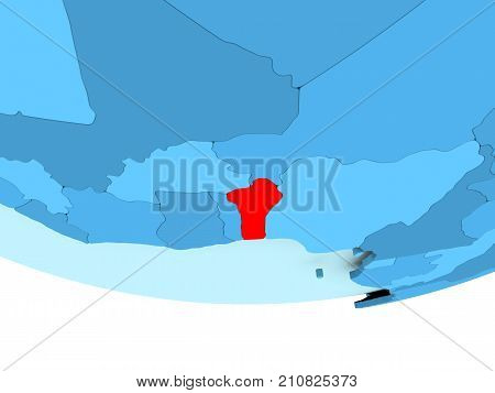 Benin In Red On Blue Map