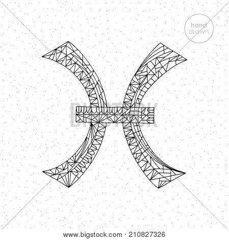 Pisces zodiac sign. Vector hand drawn horoscope series illustration. Astrological coloring pages collection.