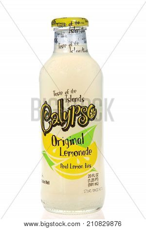 Alameda CA - September 01 2017: Calyspo brand lemonade with real lemon bits. The original Calypso Lemonade recipe was created in 1985 in Milwaukee Wisconsin by the owner of the King Juice Company.