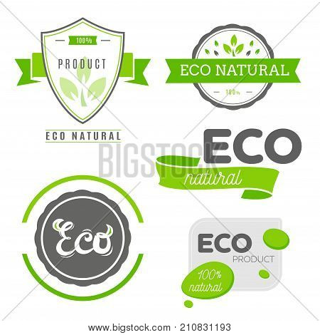 Eco icons labels set. Organic tags. Natural product elements. Logo for vegetarian restaurant menu. Raster illustration. Low fat stamp. Natural eco product. Eco product.