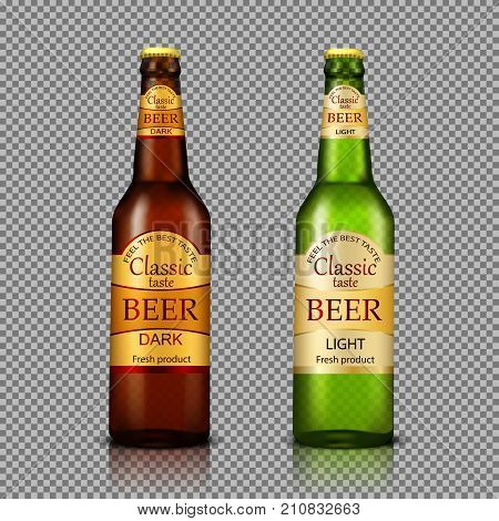 Branded with label brown and green bottles of premium beer realistic vector illustration isolated on transparent. Traditional alcohol drink tare template for product mock-up or advertising design