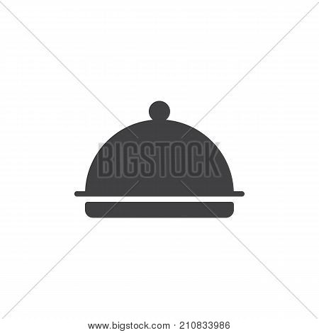 Hotel restaurant food tray icon vector, filled flat sign, solid pictogram isolated on white. Dome Food Cover Symbol, logo illustration.