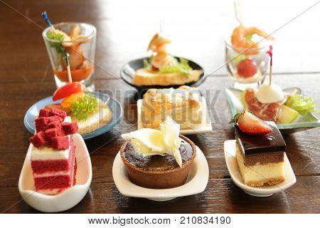 A Delicious assorted mini dessert cocktai banquet