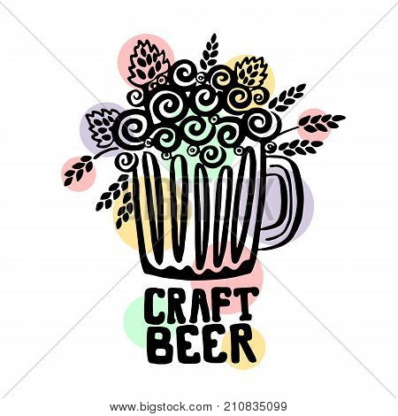 Craft Beer hand drawn illustration with lettering. Poster with text: Craft Beer. Sticker design for pub or bar menu. Pink banner about craft beer. Vector doodle illustration art.