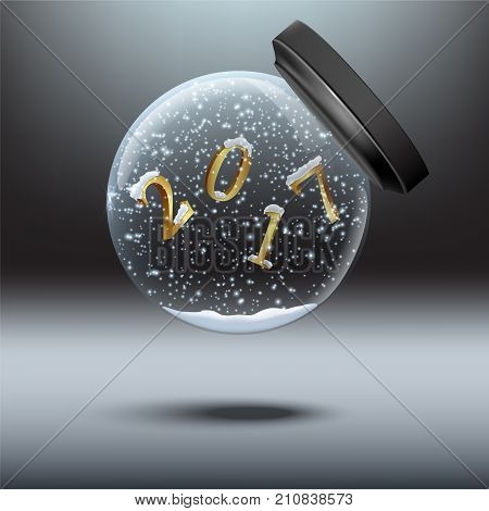 Snow globes with 2017 year sign. Vector falling snow globe with 2017 number