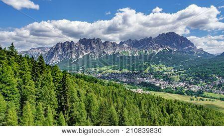 Panoramic view of Cortina d Ampezzo and Dolomiti rocks