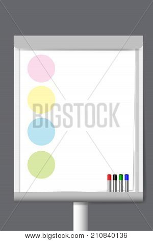 Flip chart with markers and color circle moderation papers ready for your text.