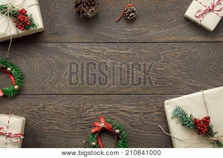 Happy Merry christmas & new year decorations concept background.All accessories objects on modern design wooden at home office desk.free space for creative word and text.