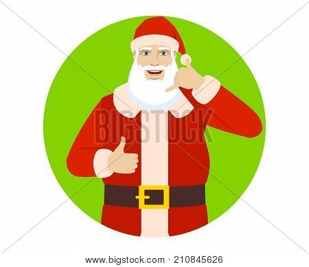 Santa Claus showing a call me sign and showing thumb up. Portrait of Santa Claus in a flat style. Vector illustration.
