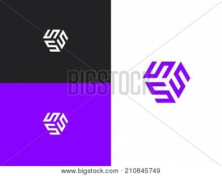 The cube with the letter SSS brand logo. Unusual geometric letter S. Architecture vector logo. Isolated monogram.