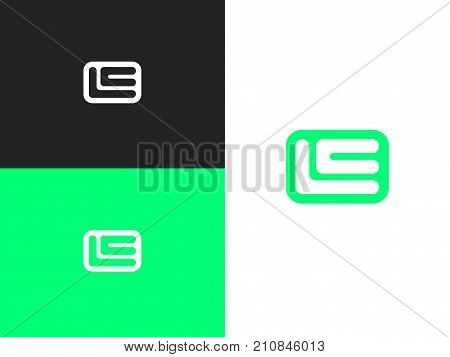 Initial letters L and E rounded square shape monogram green simple logo. Modern logotype, business corporate template.