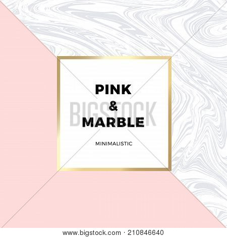 Trendy pink geometric card or flyer design wiht contrast shapes, marble texture, gold frame and space for text. Vector illustration.