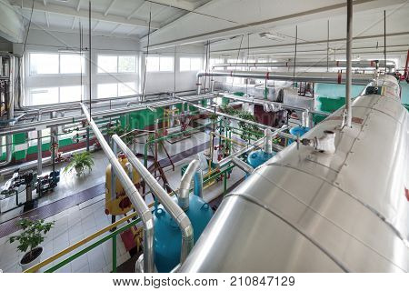 Modern boiler room, steam and hot water generation. Many reservoirs, pipelines, pumps and valves.