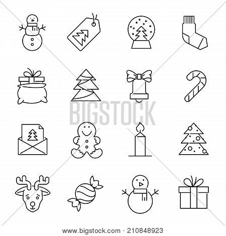 Christmas icons. Xmas and winter vector illustration. Christmas celebration icons in outline style. Christmas signs. Professional vector icons for christmas holydays.
